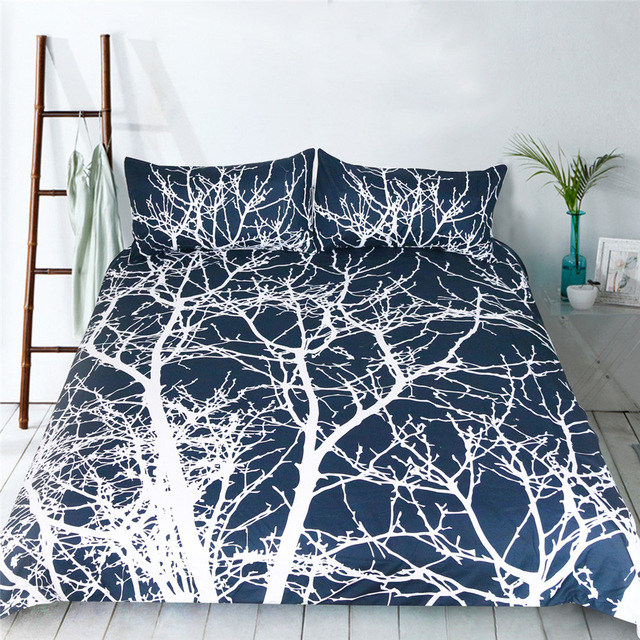 White Tree Duvet Cover Bedding Sets 3pcs Twin Queen King Size 1 Quilt