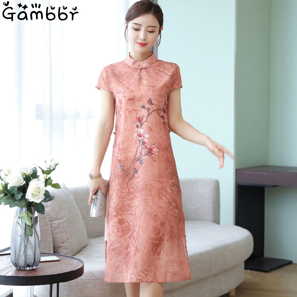 Chinese Traditional Dress For Women Qi Pao Cheongsam Dress Elegant Improve High Quality Vintage Printed Qipao Dress Plus Size