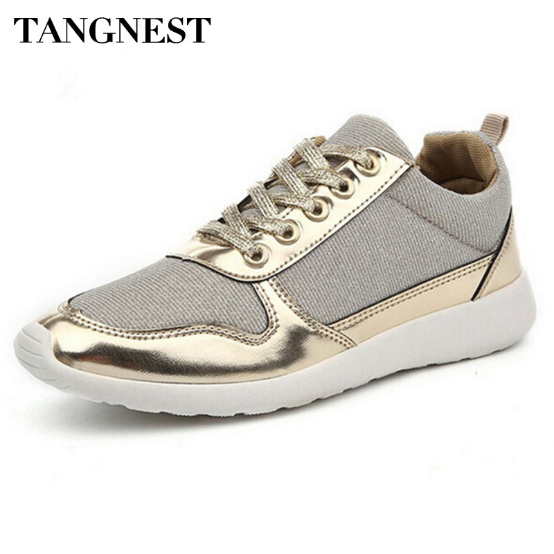 Tangnest Sliver Women Shoes 2017 Lace Up Casual Shoes Woman Glitter Bling Flats Breathable Mesh Shoe Lady Size Plus 36-41 XWC272