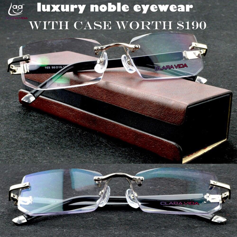 Claravida pacote de luxo chefe executivo officer sem aro de negócios sem aro óculos de leitura + caixa do plutônio + 1 1.5 2 2.5 3 3.5 + 4