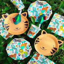Jungle Party Decoration Birthday Disposable Tableware Set Animal Plates/Cups/Napkins For Kid
