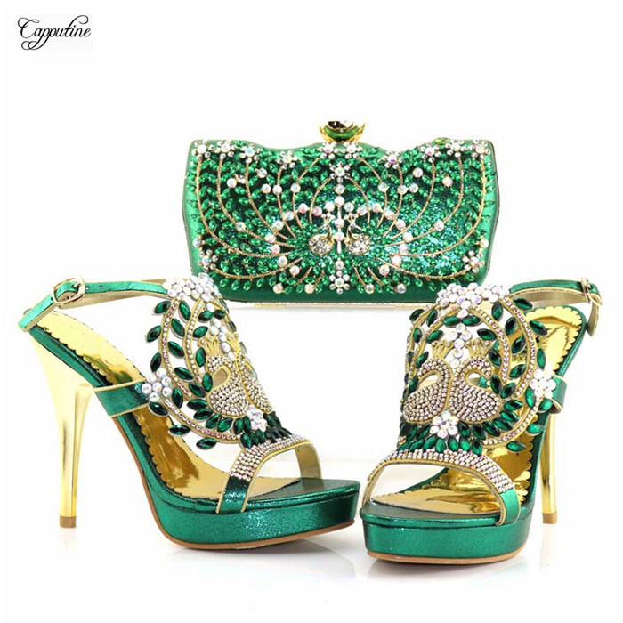 Popular buckle super high heel pump shoes and handbag with stones sandal matching with clutch purse set 8886-3 in green