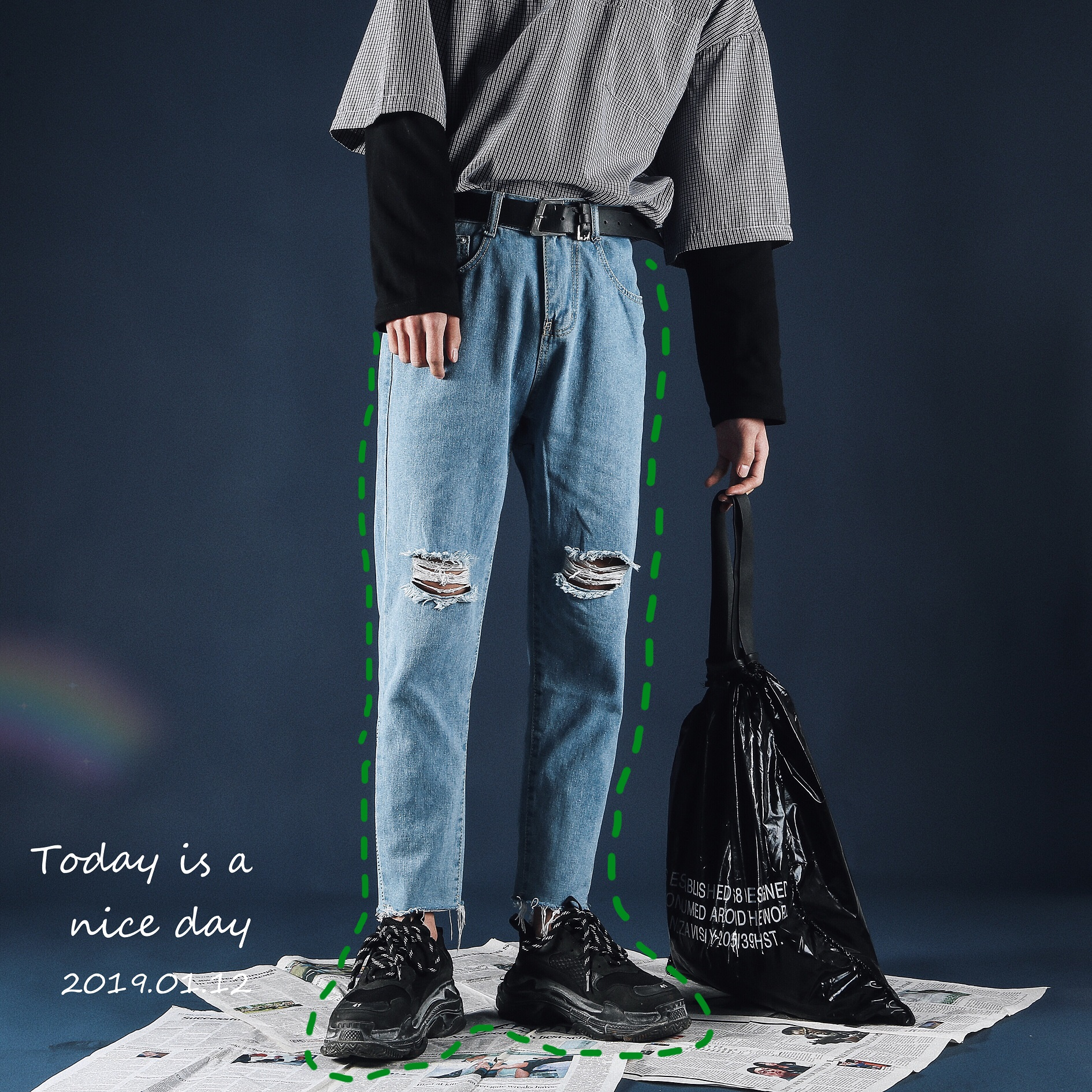 Spring New Nine-point Trousers With Broken Holes, Men's Korean Version Of Loose  Trend Of Young Handsome Jeans, Handsome