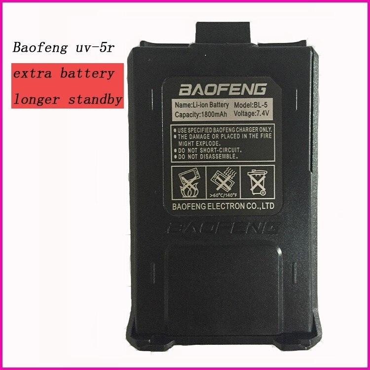 imágenes para Hot 1800 mah recargable batería para radio de dos vías baofeng uv-5r uv-5ra walkie talkie baofeng uv 5re 7.4 v batería 5r accesorios