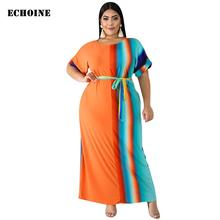 Plus Size 3XL Maxi Dress with Belt Striped Print Long Dress with Pocket Casual Elegant Party Vestidos Short Sleeve Femme Robe цена 2017