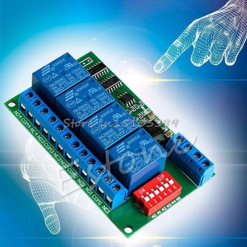 12 V RS485 Relais 4CH Modbus RTU PC Conseil UART pour PLC Lampe LED PTZ Caméra Bateau De Baisse De Commande