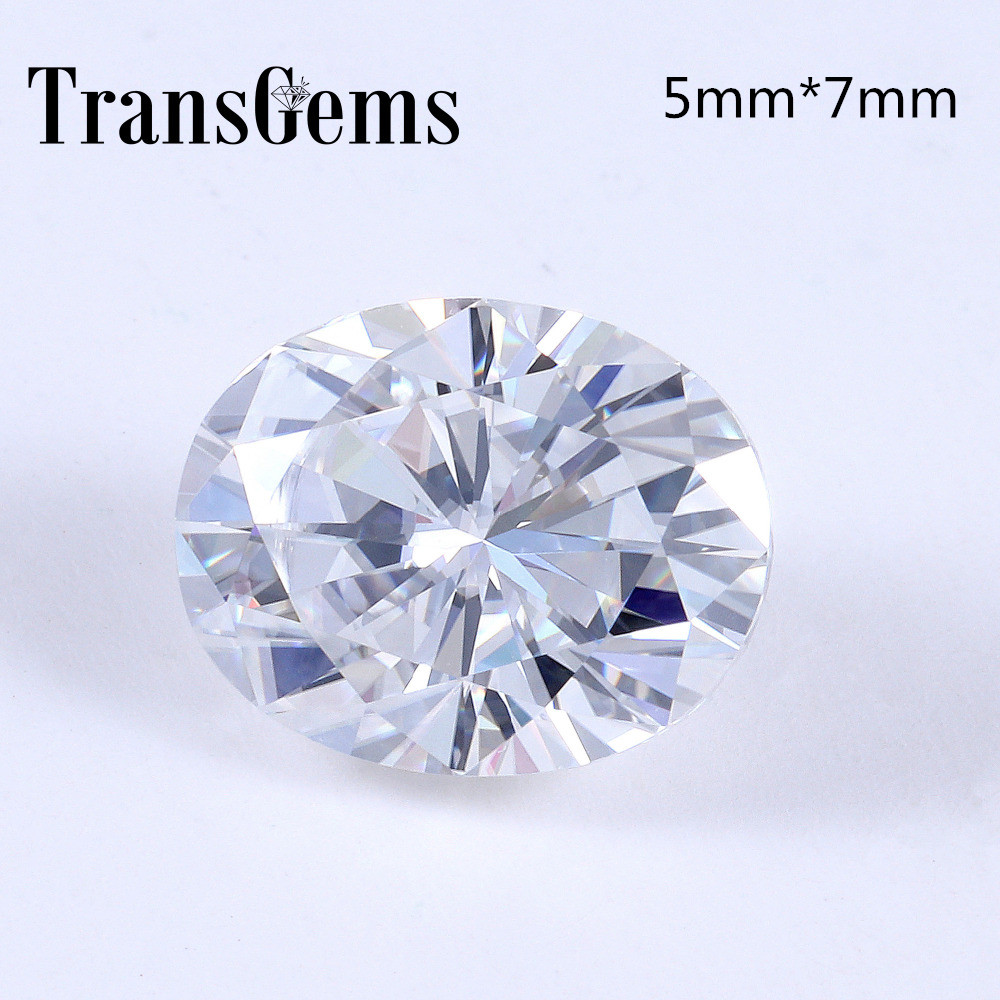 TransGems 1 Carat 5mm*7mm F Color Oval cut moissanite Diamond Loose Stone Test Positive as Real Diamond transgems 7 5mm 7 5mm 2carat deep blue color cushion cut moissanite bead test positive as real diamond 1 piece