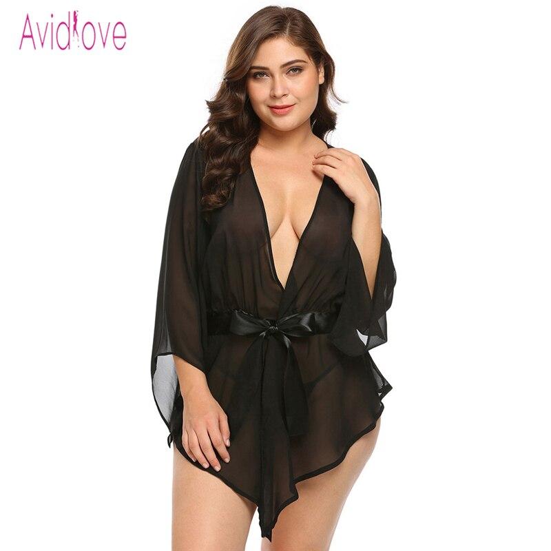 Avidlove Plus Size Robe de Renda Transparente Mulheres Babydoll Lingerie  Sexy Hot Erotic Sex Trajes Quimono Roupão Roupão 7e01c838135