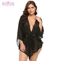 Avidlove Plus Size Transparent Lace Robe Women Babydoll Lingerie Sexy Hot Erotic Sex Costumes Kimono Bathrobe