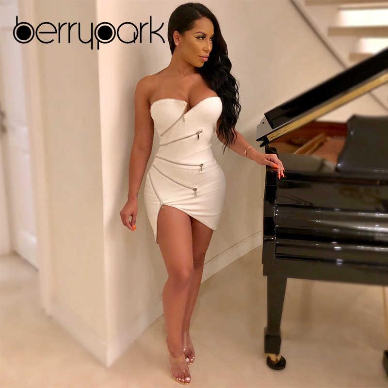 Detail Feedback Questions about BerryPark High End Designer Zipper Dress  2019 New Fashion Women Good Quality Strapless White Slim Sexy Irregular  Party Dress ... e3cba7bff88b