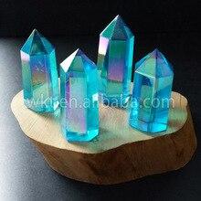 WT G126 Aqua Aura kwarcowy kryształowa różdżka, Aqua Aura różdżka punkt, Aura kryształowy punkt, uzdrawiający kryształ punkt, barwa niebieska Aura kwarcowy