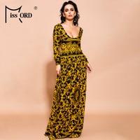 Missord 2019 Sexy V Neck Long Sleeve Bohemian Print Dresses Female Summer Beachwear Elegant Maxi Dress AM0030