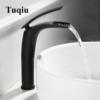 Bathroom Basin Faucet Black Baking Solid Brass Faucet Sink Mixer Tap Hot and Cold Waterfall Basin Faucet Free Shipping 1