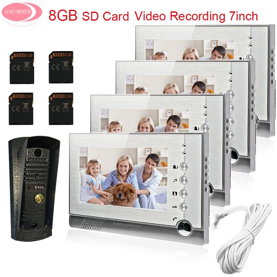 7'' Video Door Phone Monitors Video Intercom With Recording 8GB SD Card Doorbell Night Vision Metal Waterproof Security Camera