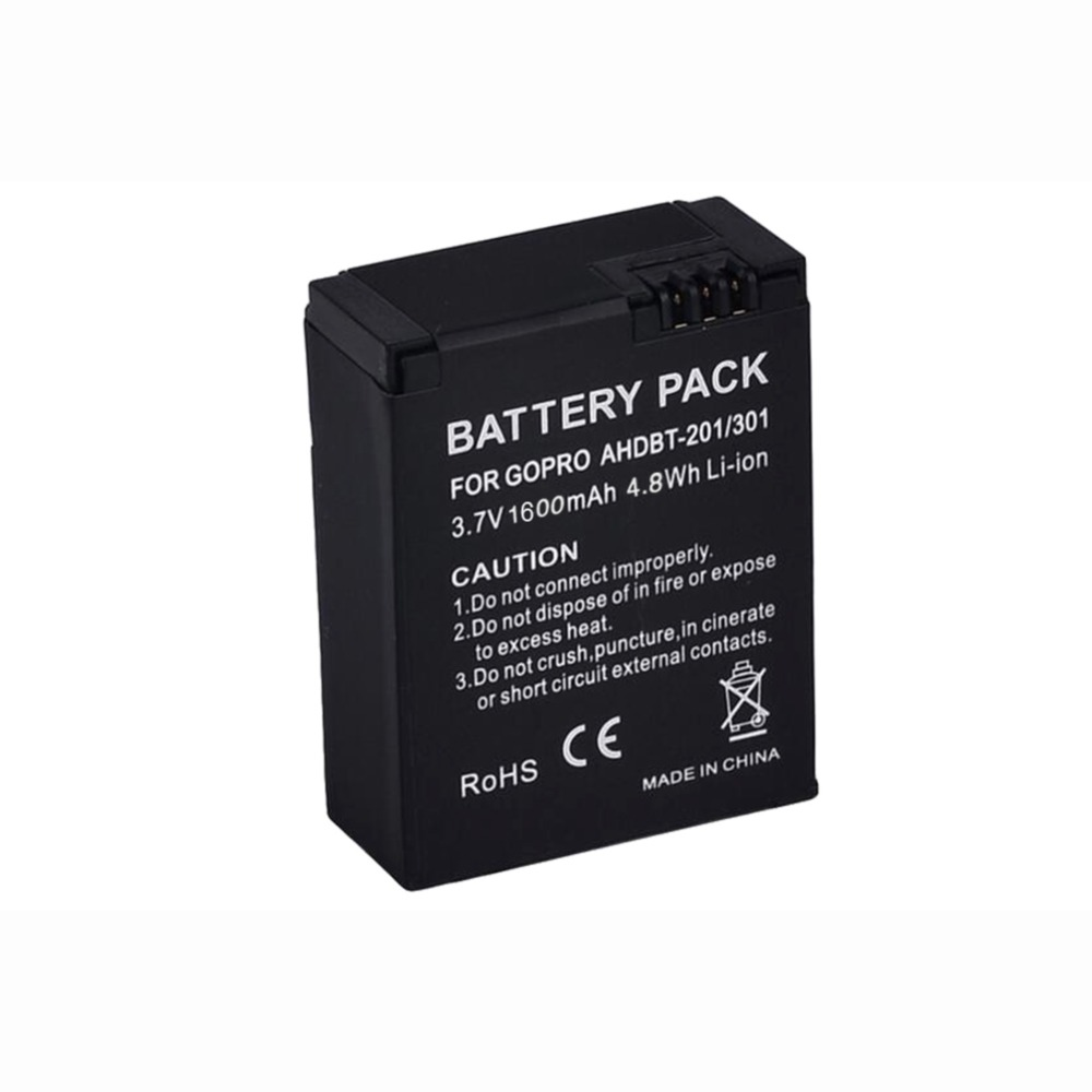 Action Camera Replacement Battery AHDBT-201/301 1600mAh for Gopro Hero 3 3+ Go Pro Hero3 Sport DV Rechargeable Li-ion Batteria