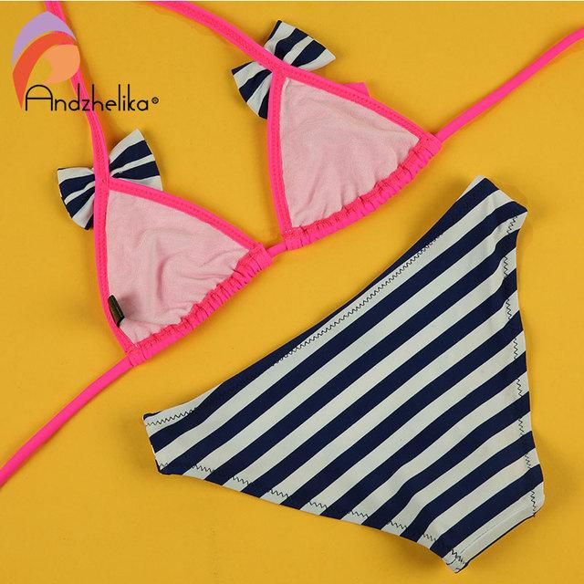 Andzhelika 2017 New Bikinis Set Children's Swimsuit Cute Bow Solid striped Bottom Girls Swimwear Swimming Suit 10-16 year old