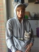 2017 Hooeded Sweatshirt Women cat Dog Pet Hoodies Long Sleeve Pullover cute Streetwear Big Pocket Pullovers With Ears Hoodies