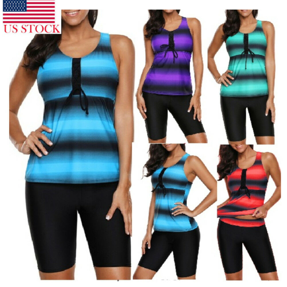 Hot Plus Size 4XL 2 Piece Women Push-up Swimsuit Tankini Sport Short Sleeve Bathing Suit Beach Swimwear Summer Sets Bikini Set