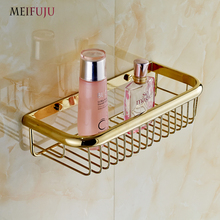 Fashion Shampoo holder 30cm Wall Mounted Strong Brass made and Golden finish single tier bathroom shelf /shelves bathroom basket