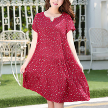 2019 Tops New arrival women summer dress print plus size women casual short sleeve dresses vestido de festa