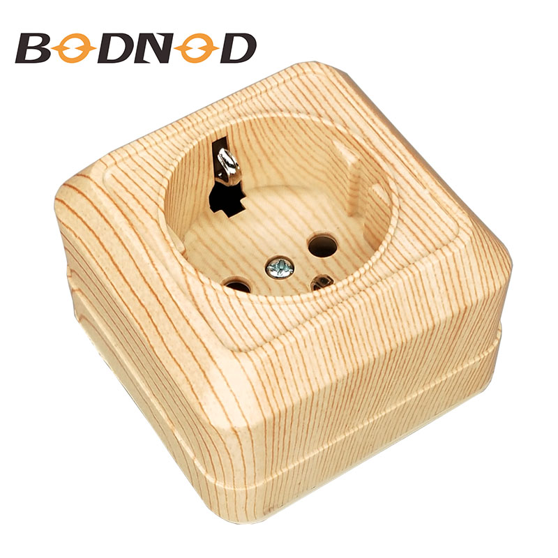 2018 PopSocket New SCHUKO Wall Socket 250V 16A  Power Supply Wall Mount Charger Adapter Wood Color Socket Legrand Schneider