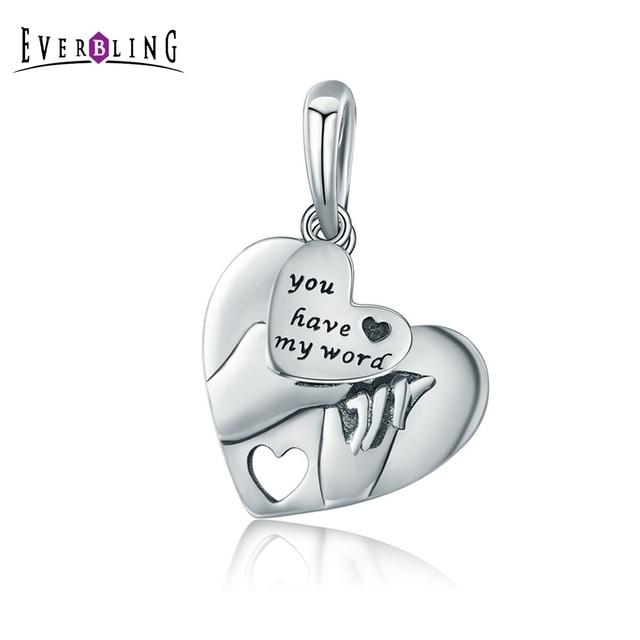 I Love You Charm Bead 100% Genuine 925 Sterling Silver Crystal Heart Charms Pendants fits European Bracelets u4wBJ