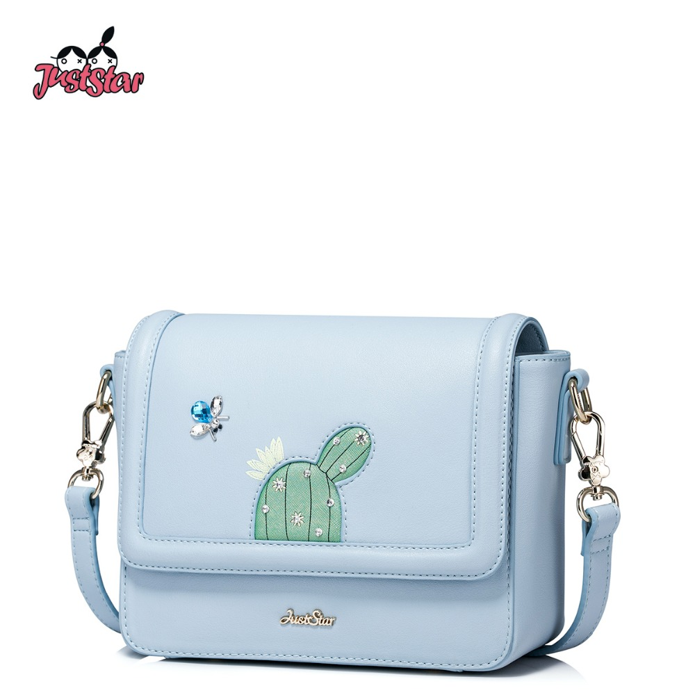 JUST STAR Women's PU Leather Messenger Bags Ladies Cactus Beading Shoulder Bag Female Small Leisure Flap Crossbody Bags JZ4300 2color choose leisure dress doll clothes wear fit 43cm baby born zapf children best birthday gift only sell clothes