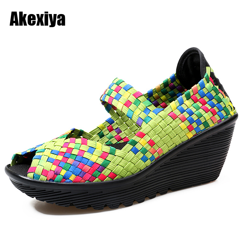2018 Spring women platform sandals Shoes women slip on Woven shoes Flat wedge Shoes women multi colors ladies Wedges shoes m502