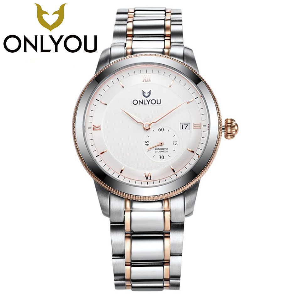 ONLYOU Top Luxury Brand Men Automatic Mechanical Watch Full Steel Mens Watches Sports 50M Waterproof Wristwatches Wholesale 2017 original binkada men mechanical watches men luxury brand full steel waterproof 50m business automatic wristwatches for men