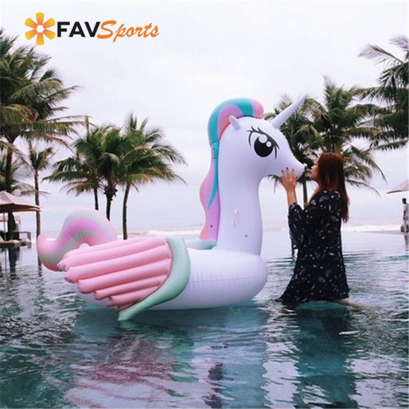 FAVSPORTS 1PCS Swimming Rings Summer Inflatable Flamingo Watersports Pool Fun Kids Toys Pool Floats Unicorn Seat Swimming Float