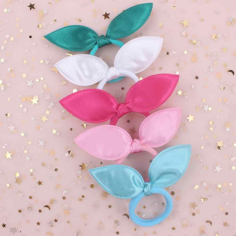 2018 new rabbit ears nylon material rubber bands women ponytail holder 6 colors Solid hair accessories FOR girls 1pcs TX08