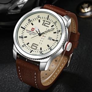 Image 1 - 2019 Luxe Merk Naviforce Datum Quartz Horloge Mannen Casual Militaire Sport Horloges Lederen Horloge Mannelijke Relogio Masculino Klok