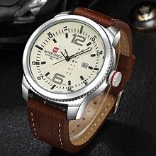 2019 marca de luxo naviforce data relógio de quartzo dos homens casual militar esportes relógios couro relógio de pulso masculino relogio masculino