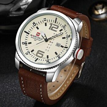 Мужские часы с кожаным ремешком NAVIFORCE