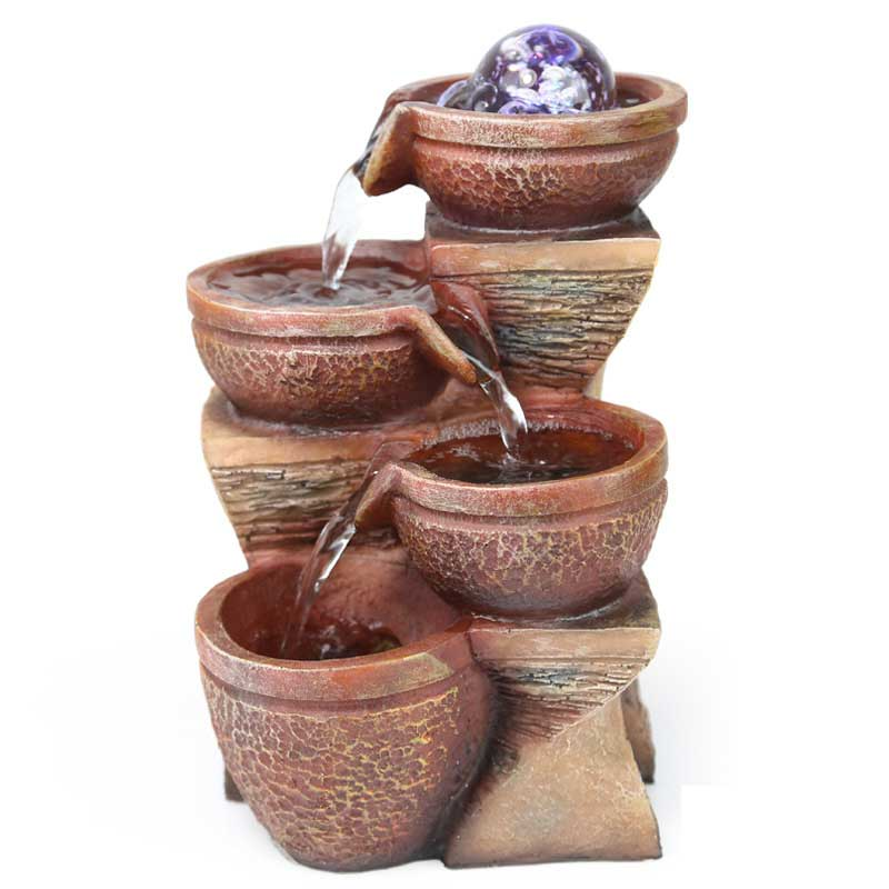 Modern Art Small Fountain Water Decoration Potted Landscape Resin Creative Vintage Home Fengshui Humidifier S
