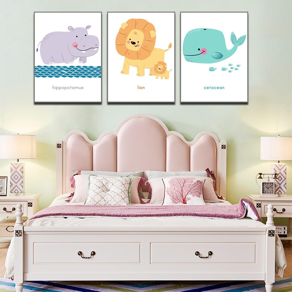 Unframed HD 3 Art Paintings Creative Cartoon Animal Decorative Painting Cute Lion Hippo Whale Living Room Inkjet Mural