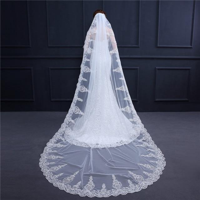 bien baratas comprar seleccione para el más nuevo Venta caliente velos De novia marfil blanco para boda 3m lujo Catedral velo  apliques accesorios Veu noiva