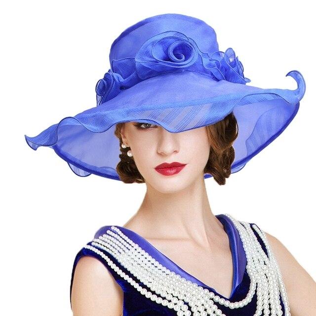 9944b9398ec New Women Sun Hats Foldable Kentucky Derby Hats Wide Brim Organza Ladies  Fedoras Dress Hat Elegant