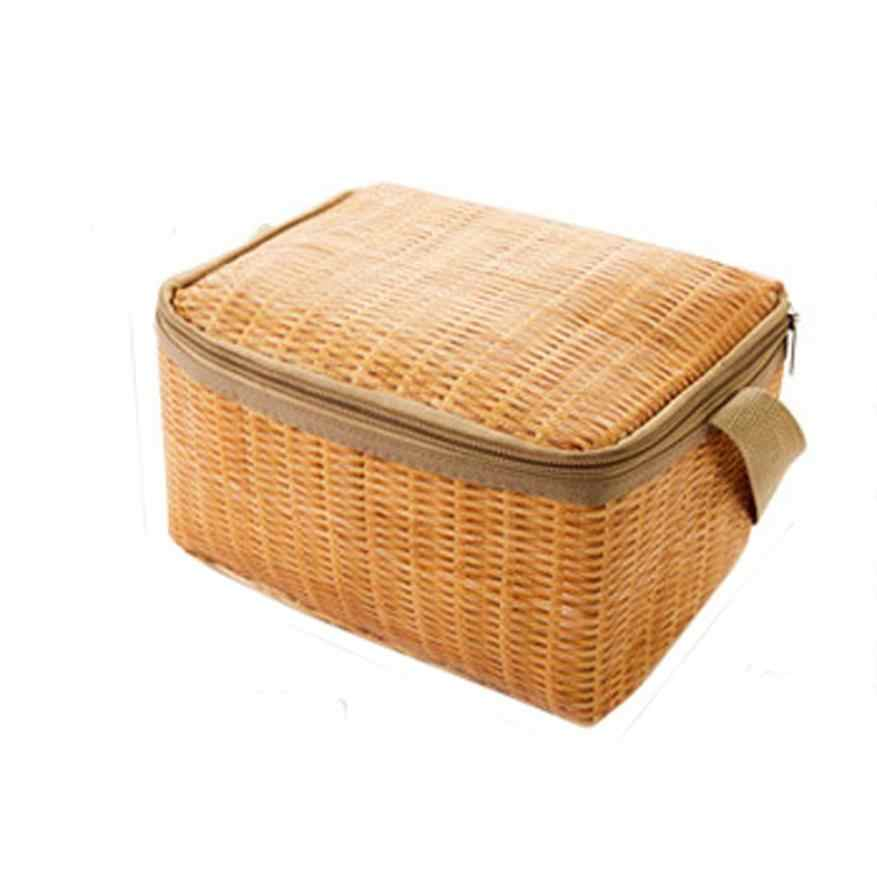 New Portable Imitation Rattan Lunch Bags Insulated Thermal Cooler Lunch Box Tote Storage Bag Container Food Picnic Bag #A