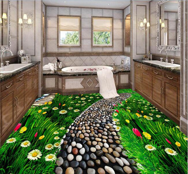 Us 26 29 46 Off 3d Pvc Flooring Waterproof 3d Bathroom Flooring Lush Flowers Grass Natural Flooring Paintings Photo 3d Wall Murals Wallpaper In