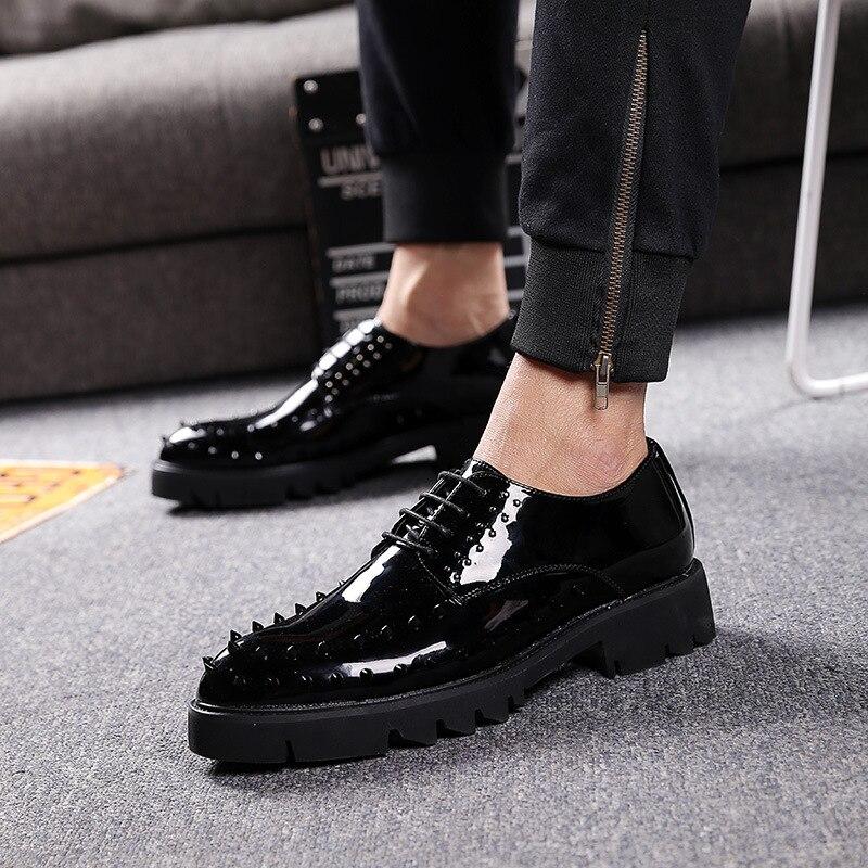 Da Bling Sapatos Do A De Brilho Flats B Moda Apontado type Masculinos Type Lace Couro Oxfords Homens Mens Up Pé Vestido Dedo Rebite Festa Casamento wFBB0nX