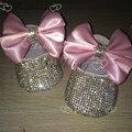 El Arco rosado Bebé Recuerdo Cadena de Lentejuelas de cristal Hecha A Mano Dollbling bebé princesa zapatos de toda la cubierta bling cristales cumpleaños zapatos