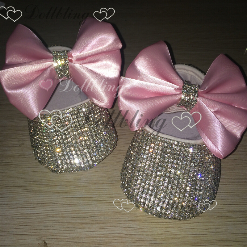 Pink Bow Infant Keepsake Sequins Chain crystal Handmade Dollbling baby princess shoes all cover crystals birthday bling shoes
