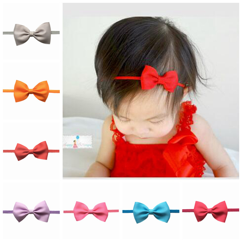 2018 Children Headbands Flower Mini Satin Ribbon Bow-Knot Newborn Girls Headbands Hair Accessories Headwrap Headwear Tiara