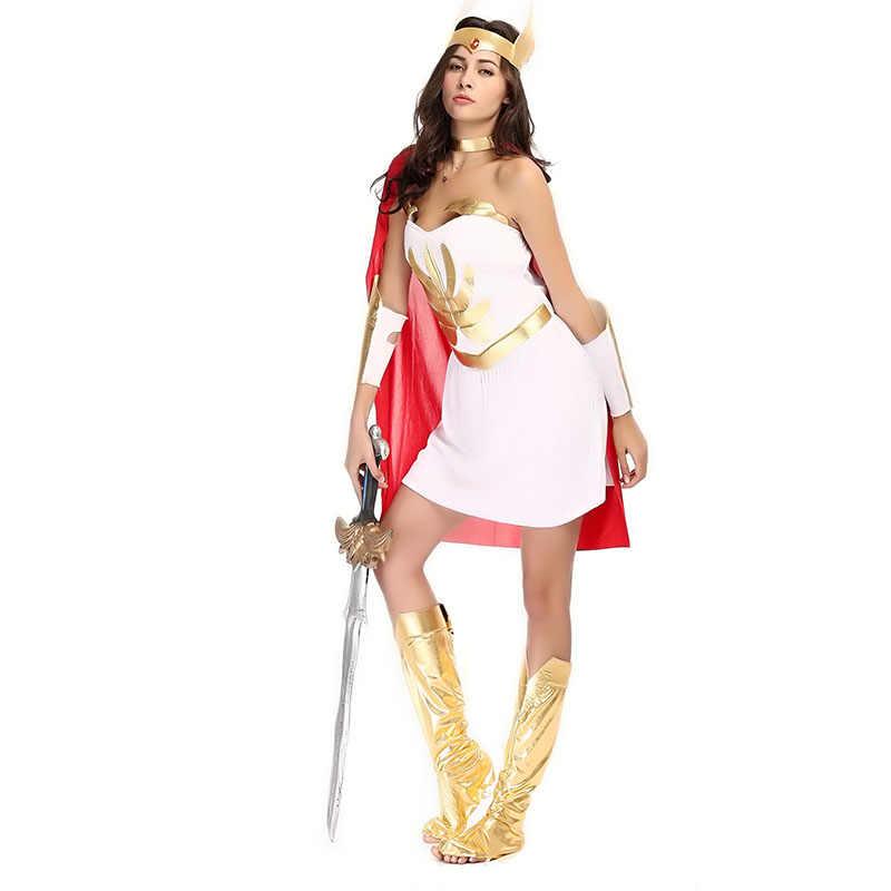 Cosplay trắng & vàng ai cập la mã cổ đại warrior athena hy lạp goddess costume adult woman trang phục sexy cộng với kích thước halloween dress