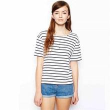 2018 nueva camiseta del verano mar rayas camiseta mujer Breton Tops moda  o-cuello de manga corta blanco Casual mujer Camisetas 633e0c635d887