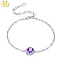 Hutang Natuurlijke Amethist Link Armband Solid 925 Sterling Zilveren Edelsteen Fijne Sieraden voor Vrouwen Meisje Kerstcadeau 6.5