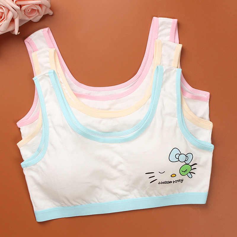 Modelo de Roupa Interior para crianças 100% Algodão Meninas Tanque Cor Top Doces Meninas Undershirt Singlet Camisole Bra Tops Esporte Roupa Interior Do Bebê