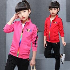 Image 3 - 5 kleur Meisjes jas en broek tweedelige Sets Mode Brief streep print Sport pak herfst kleding voor meisjes kleding set
