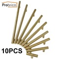 Probrico 10 PCS Stainless Steel Gold Diameter 12mm Hole Center 50mm~256mm Kitchen Cabinet Door Knob Furniture Drawer Handle Pull